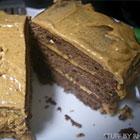 Chocolate cake with peanut butter cream