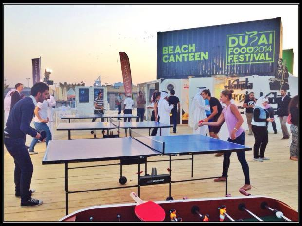 Table tennis at the Beach Canteen in Kite Beach Dubai Food festival