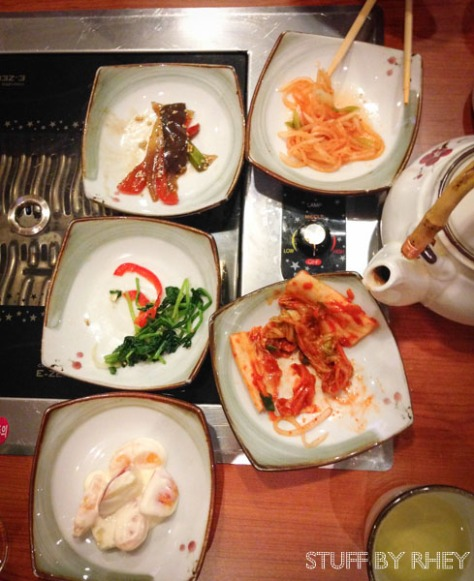 Banchan Dishes with our green tea at Yee Hwa, Doha Downtown