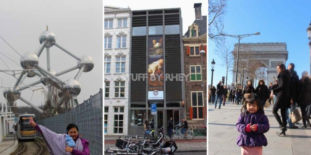 The atomium in Brussels, The Rembrandt Museum in Amsterdam, Aria at the Arc De Triomphe