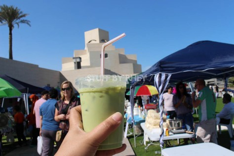 My Macha green iced tea at the MIA Park Bazaar