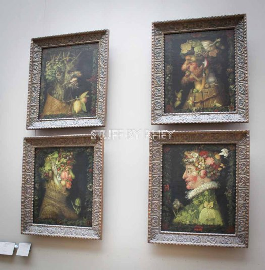 Didn't know these were classical paintings. Thought they were modern. Fruit and vegetable paintings at the Louvre