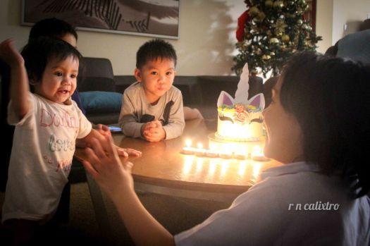 Singing happy birthday to Aria